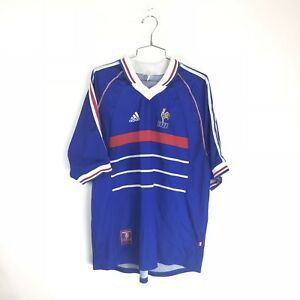 Vintage FFF Adidas France 1998 Home World Cup Soccer Jersey Football ... 6d25c736f