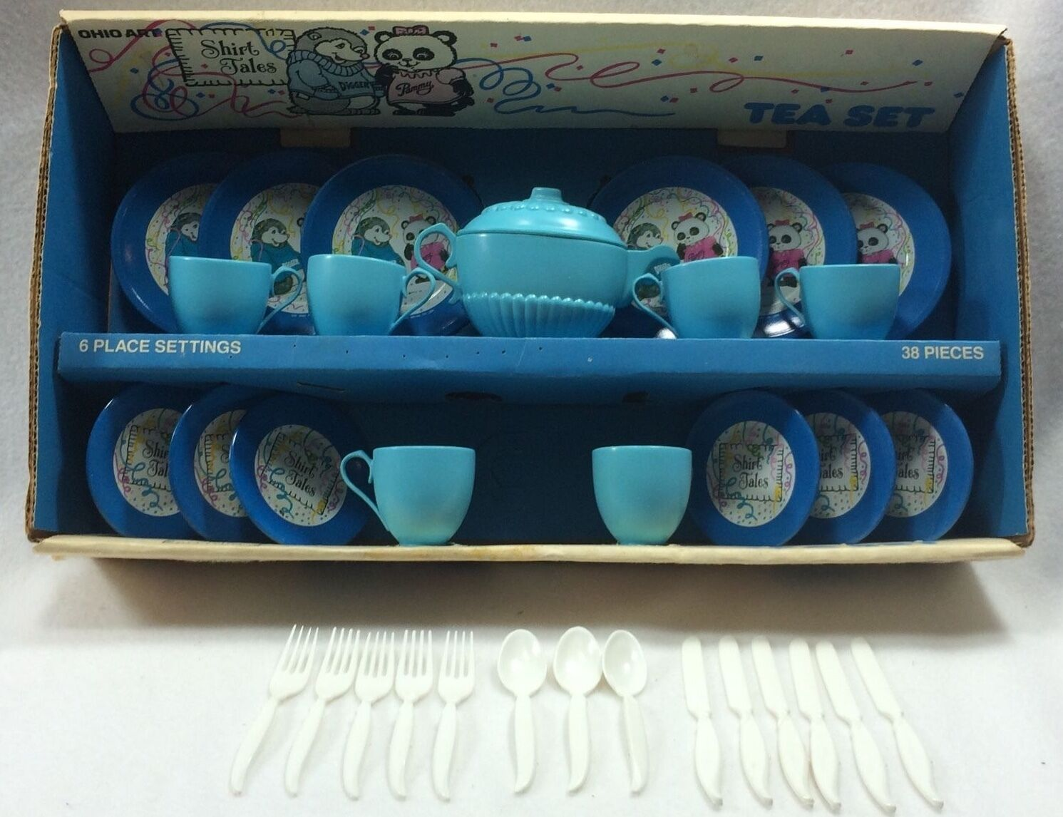Vtg Shirt Tales Ohio Art Tin Tea Set 34 Pieces Cups Saucers Plates Utensils Box