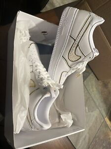Details about Nike Air Force 1 low CR7 White and Gold Authentic