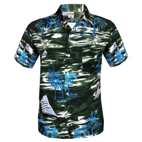 Mens Hawaiian Stag Beach Hawaii Aloha Party Summer Holiday Casual Fancy Shirt