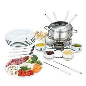 fondue set 28 teilig gabel l ffel teller sch lchen edelstahl ebay. Black Bedroom Furniture Sets. Home Design Ideas