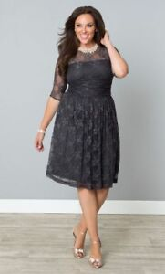 Kiyonna-Gray-Dress-1X-14-16-Luna-Lace-Style-Party-Illusion-Neckline-Made-In-USA