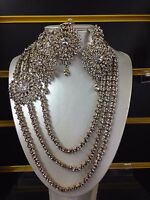 Necklace Set Earrings Tikka Wedding Indian Bollywood Jewellery Silver Tone -q1
