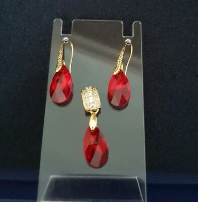 Jewelry & Watches Red By Scientific Process The Best Beautiful Set Pendant And Earrings Made With Crystal From Swarovski