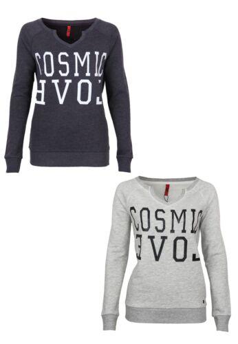 QS by s.Oliver Damen SweatshirtV-Ausschnitt Freizeit Clubwear Aufdruck Outfit