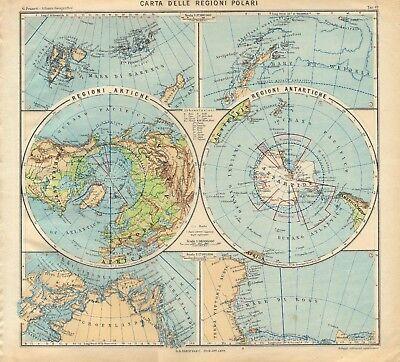 Cartina Politica Portogallo Con Regioni.Carta Geografica Antica Regioni Polari Artide Antartide Paravia 1941 Antique Map Ebay
