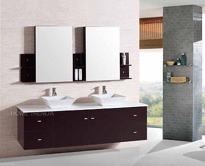 Wall Mount Floating 72 Inch Double Sink Bathroom Vanity Espresso