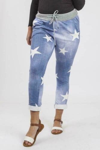 New Italian Ladies Women Star Print Cotton Trousers Joggers Size M L XL