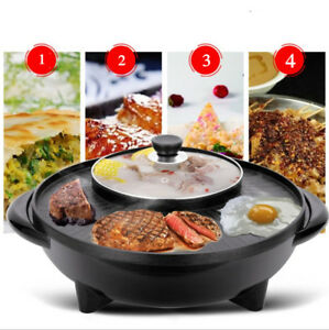 Round-2-In-1-Electric-Pan-Shabu-Hot-Pot-BBQ-Frying-Cook-Grill-Kitchen