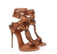 Ankle strap Sexy Womens Super high heel stilettos open toe Lace up shoes Sandals