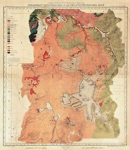 MAP-ANTIQUE-1878-HAYDEN-YELLOWSTONE-PARK-GEOLOGICAL-REPLICA-POSTER-PRINT-PAM1948