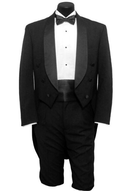 42 R Mens Black Shawl Tuxedo Tailcoat Tux Tails Coat Dickens Victorian Formal