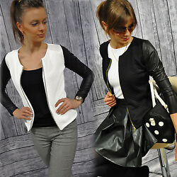 NEU Damen Cardigan STRICKJACKE Bolero Steppjacke mit Kunstleder-Ärmel S M L XL