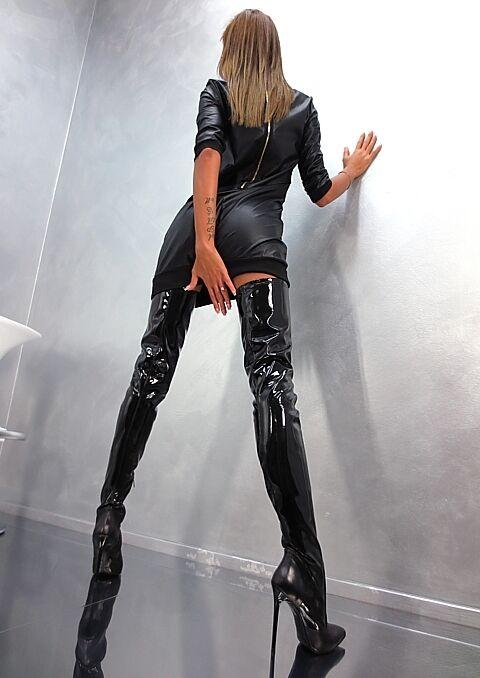 MADE Stiefel IN ITALY SEXY HIGH HEELS LUXUS STRETCH A8 Stiefel MADE STIEFEL LEDER SCHWARZ 36 025b99