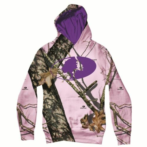 MOI8000.703 Pink Camo // Purple Mossy Oak YOUTH Camo Logo Hoodie Sweatshirt