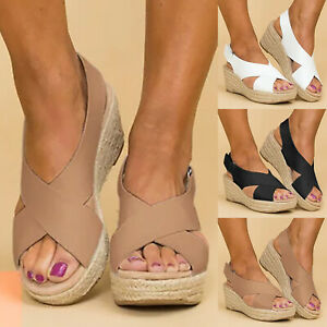 Womens-Wedge-Platform-Sandals-Ankle-Strap-Slingback-Peep-Toe-Summer-Shoes-Size