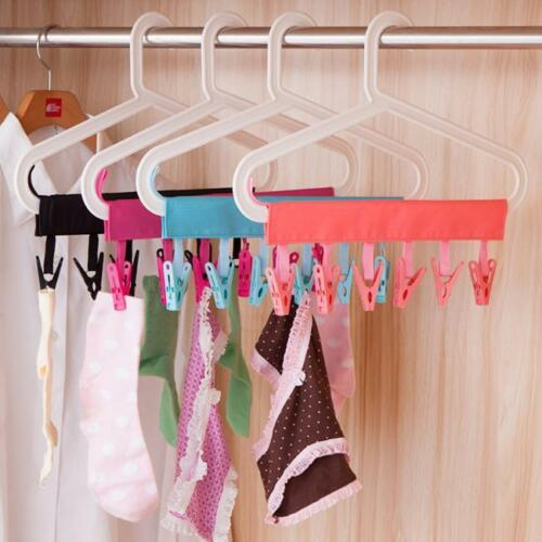 Clothes Socks Rack Folding Hanging Laundry Drying Hanger Clip YD
