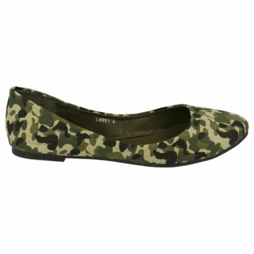 R30A Anne Michelle L4R951 Ladies Camouflage Flat Slip On Shoes