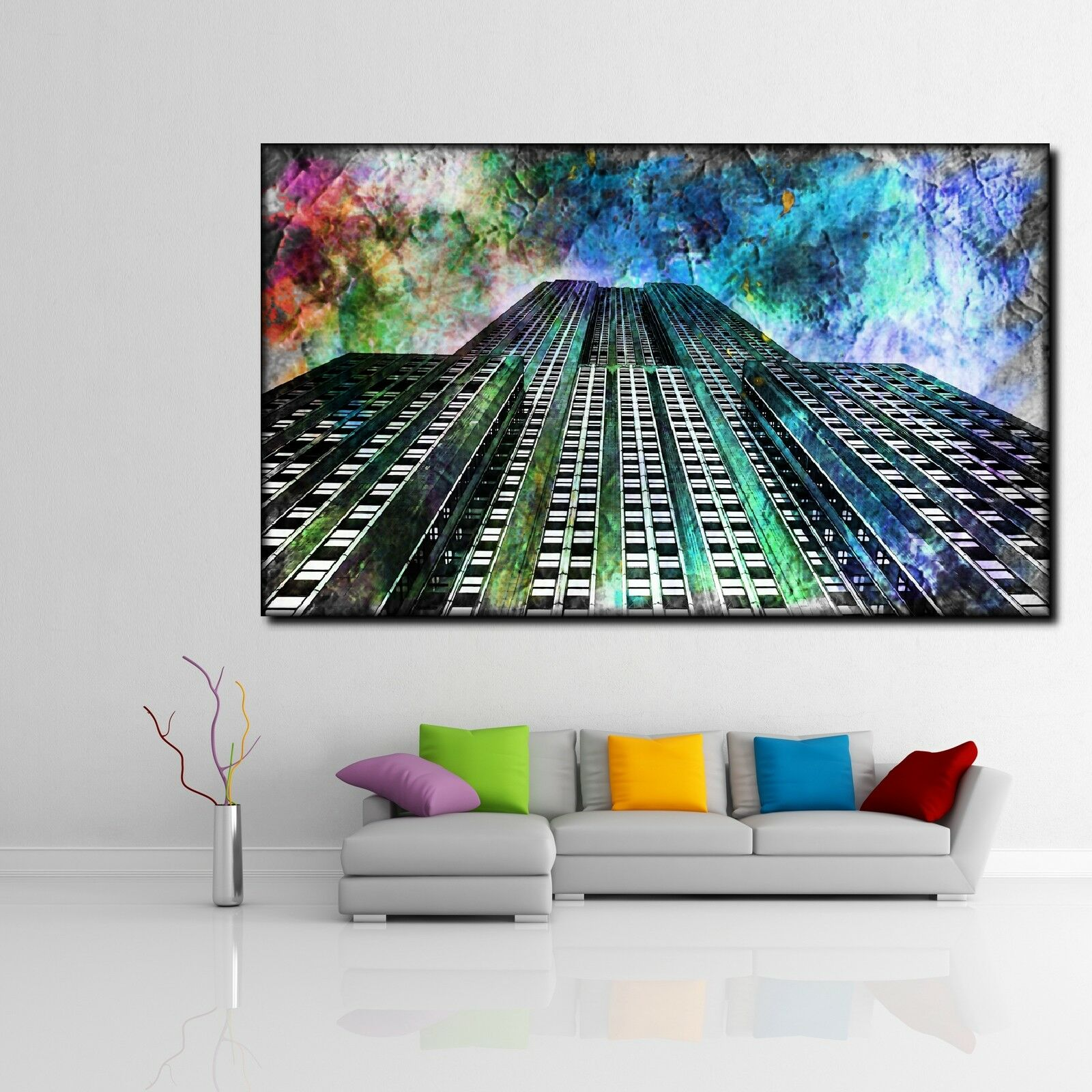 LEINWAND BILD ER XXL POP ART EMPIRE STATE BUILDING BUNT ABSTRAKT POSTER 150x90