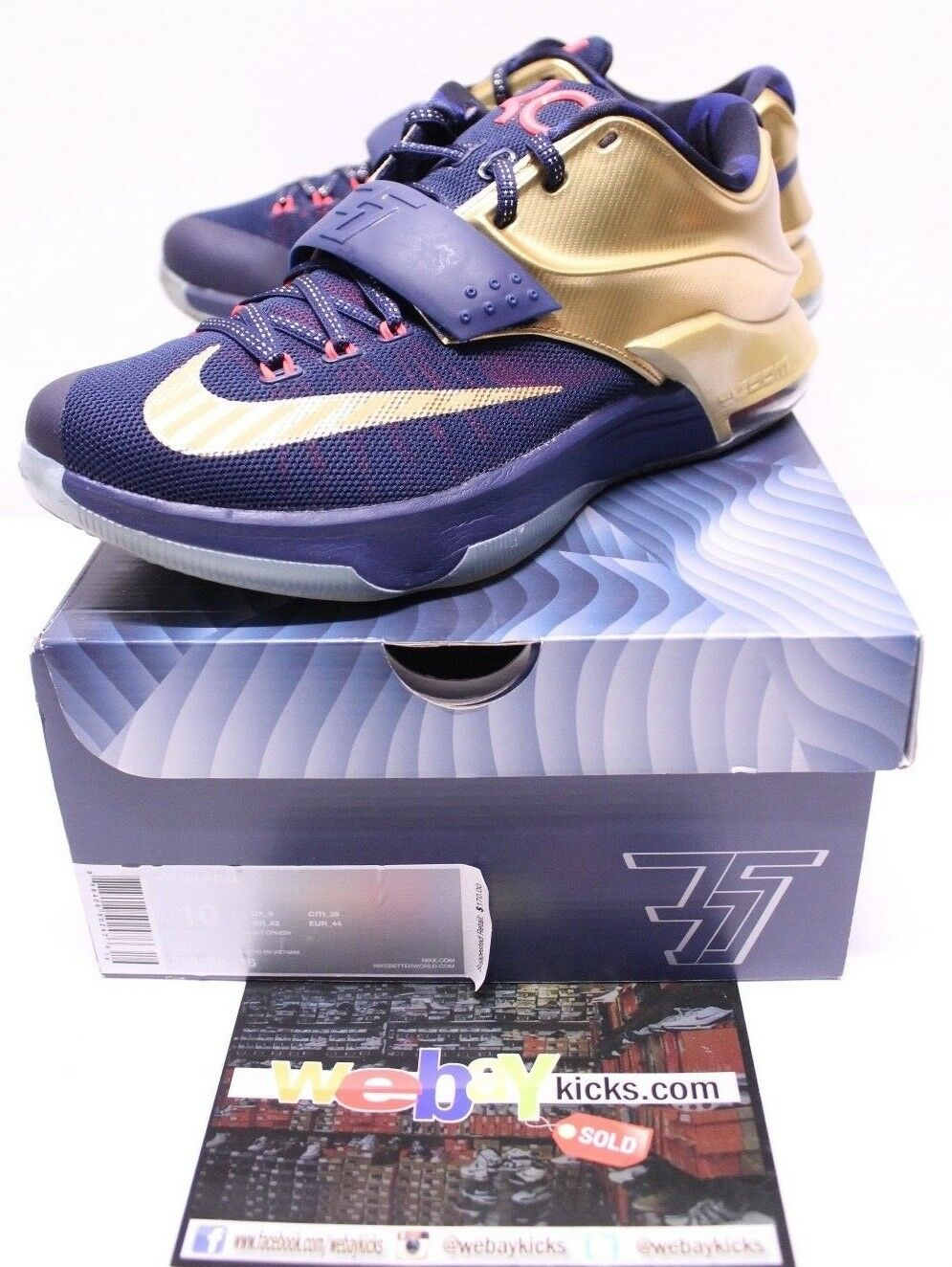 Nike Air KD 7 VI gold Medals Durant Navy bluee Red Sneakers Men's Size 10 Used