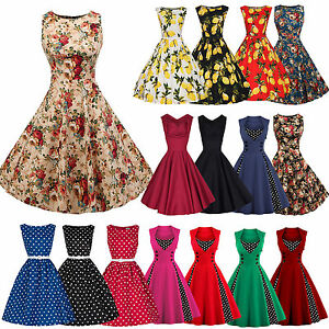 Womens-50-039-s-60-039-s-Rockabilly-Swing-Dress-Vintage-Pinup-Cocktail-Party-Dresses