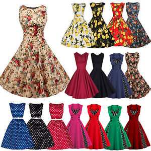 37bff1dd949f Womens 50's 60's Rockabilly Swing Dress Vintage Pinup Cocktail Party ...