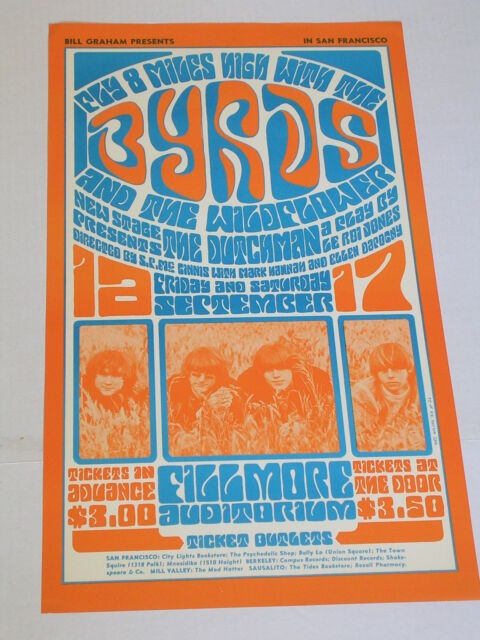 BG028 WILDFLOWER & THE BYRDS FILLMORE CONCERT POSTER by WES WILSON BG028