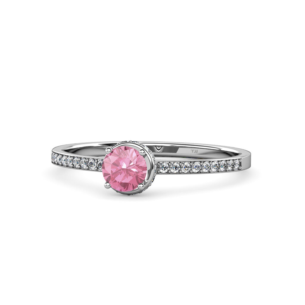Pink Tourmaline & Diamond Halo Engagement Ring 0.85 cttw in 14K gold JP 58931