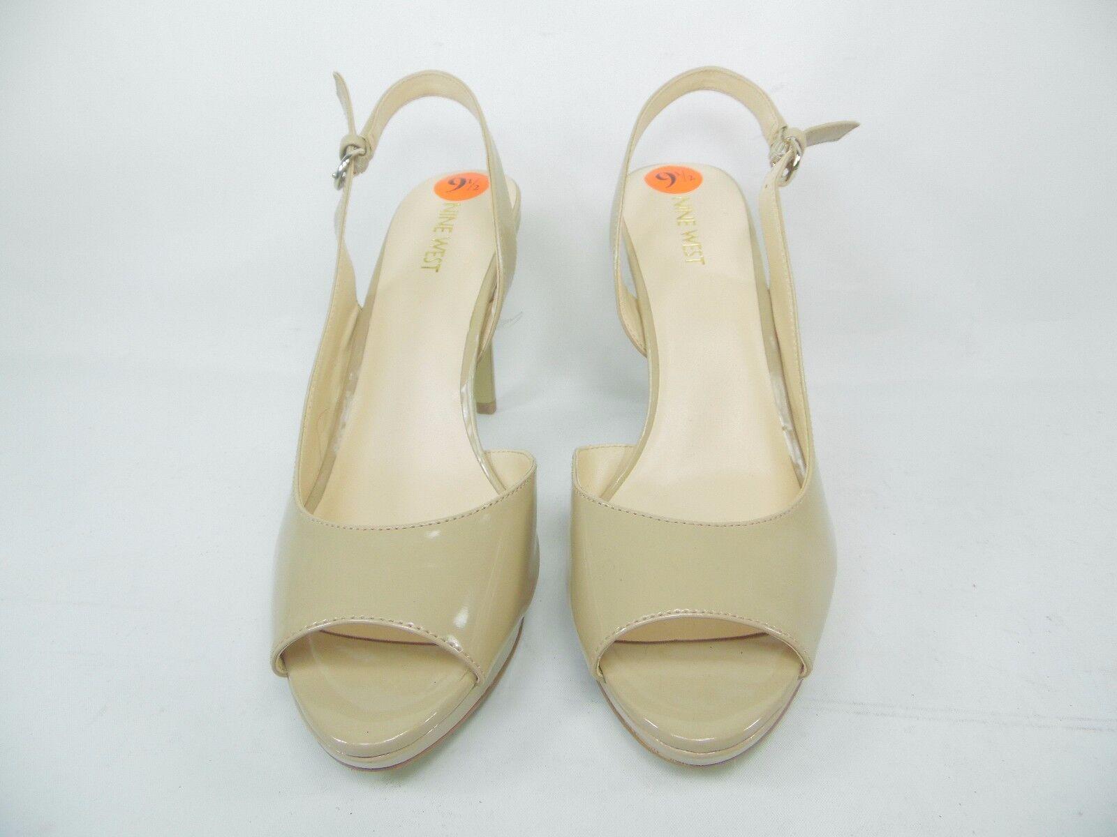 Nine West Eastwood Sandale Heels Platform Open Toe Beige Größe 9.5