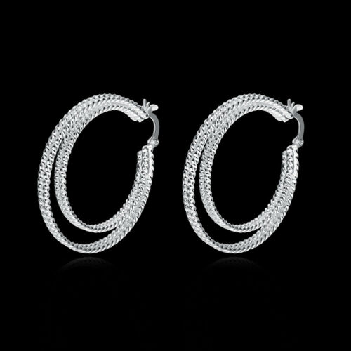 925 Sterling Silver Fashion Jewelry Double Plat Cercle Femme Boucles d/'oreilles EB717