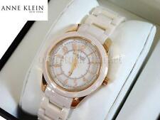 Women Anne Klein Blush Ceramic Champagne Rosegold-Tone Crystal Watch 12/2224RGLP