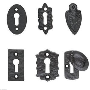 Image Is Loading Black Cast Iron Escutcheon Plates Keyhole Cover Key
