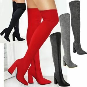 Womens-Ladies-Thigh-High-Boots-Lycra-Over-The-Knee-Pointy-Block-High-Heels-Size