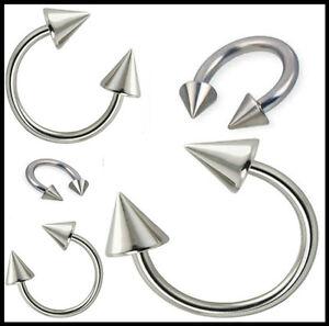 HORSESHOE-RING-STEEL-SILVER-EYEBROW-NIPPLE-LIP-EAR-TRAGUS-PIERCING-CONE-SPIKE