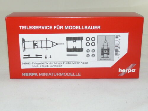 2 unidades embalaje original nuevo Herpa 083812 chasis tandemhänger Meiller-kipper contenido