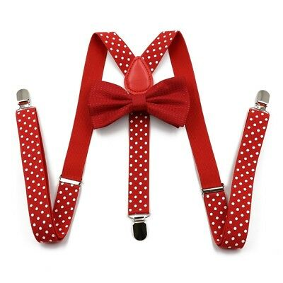 Brand New Awesome Polka Dot Red Bowtie /& Black Suspender Sets