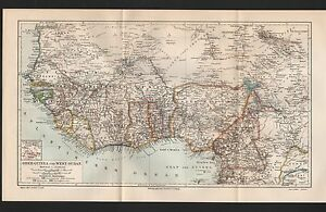 Landkarte map 1896: OBER-GUINEA und WEST-SUDAN. Afrika Africa ...