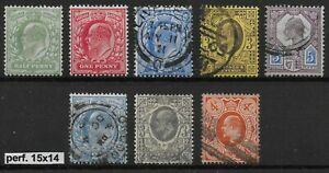Selection-of-8-KEVII-Stamps-3-Being-Perf-15x14-1-2d-amp-1d-Are-Mint-Ref-06126