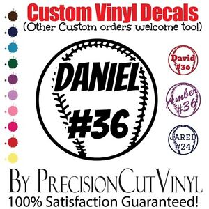 Custom Baseball Vinyl Decal With Name Car Outdoor Window Team - Custom vinyl decals numbers