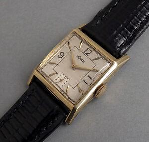 JAEGER-LECOULTRE-14K-Solid-Gold-Art-Deco-Gents-Vintage-Watch-1945