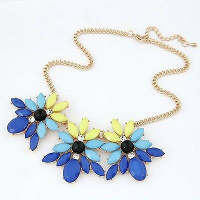 Lady Jewelry Fashion Elegant Charm Blue Resin Crystal Flower Bib Necklace