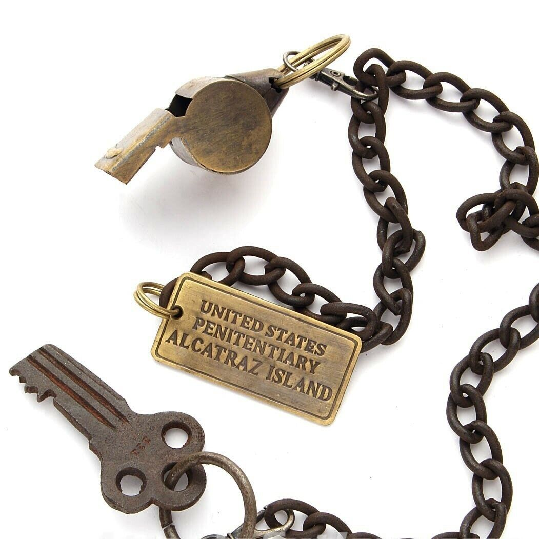 Alcatraz Island Prison Guard Brass Whistle w/Cell Key & Tag on 27