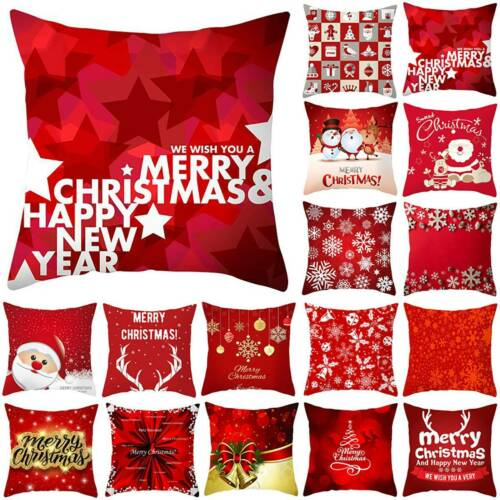 Christmas Square Cushion Covers Santa Claus Pattern Pillow Cases Car Sofa Decor