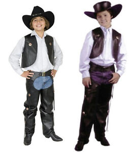CHILD-COWBOY-WESTERN-COSTUME-WILD-WEST-FAUX-LEATHER-  sc 1 st  eBay : cowboy vest costume  - Germanpascual.Com