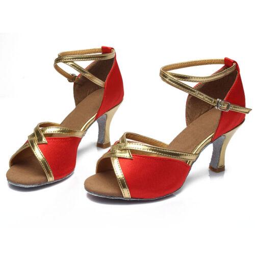 Brand New Women/'s Ballroom Latin Tango Dance Shoes heeled Salsa 4 Colors 225-S-W