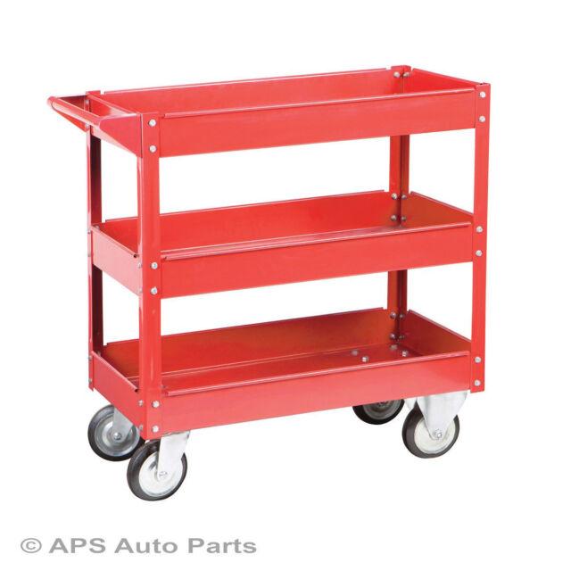 New Tool Trolley 3 Shelf Workshop Utility Tray Garage Equipment Wheel Cart