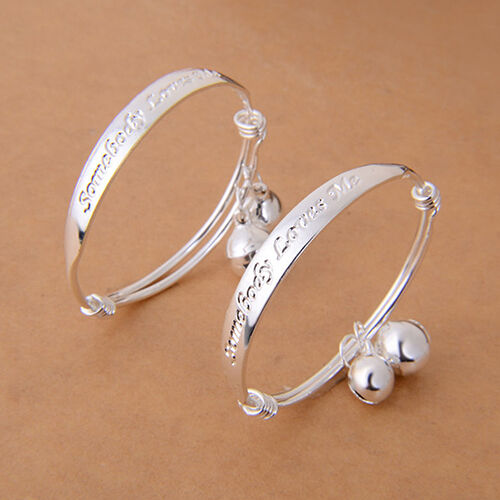 HK- Gift 2pcs Silver Plated Baby Kid Bell Bangle Bracelet English Letter Sanwood Bracelets
