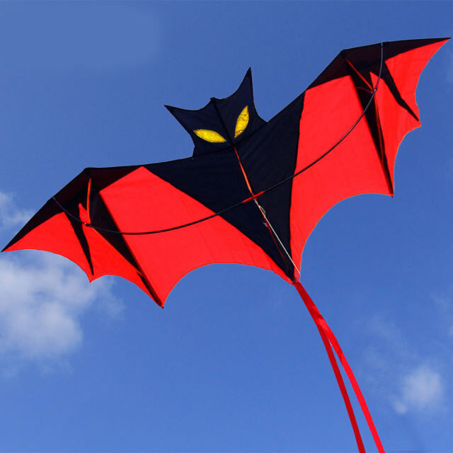 Black-Red Vampire Bat Kite Red Easy to Fly Great Gift Outdoor Sports 1.6*0.7M