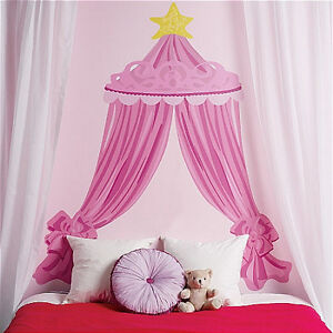Image is loading WALLIES-PINK-PRINCESS-CANOPY-HEADBOARD-vinyl-wall-sticker- & WALLIES PINK PRINCESS CANOPY HEADBOARD vinyl wall sticker bedroom ...