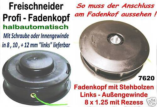 Freischneider Fadenkopf 8x1,25 Li.Bolzen Efco Oleo-Mac 2,4mm Mähfaden Motorsense